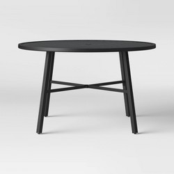 Fairmont 4-Person Round Patio Dining Table Black - Threshold™