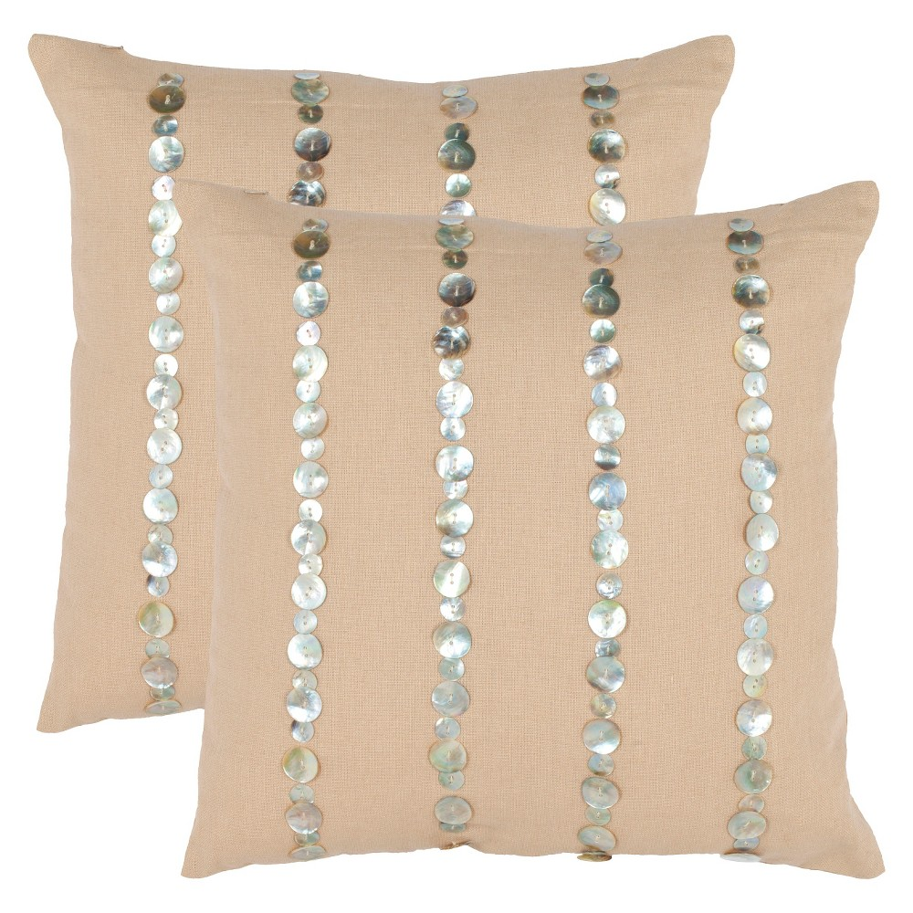 Image of 2pk Mother of Pearl Throw Pillow Beige/Silver - Safavieh