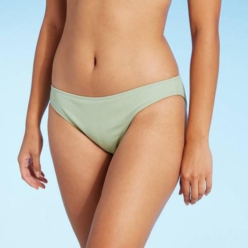 Juniors' Textured Cheeky Bikini Bottom - Xhilaration™ Light Sage Green - image 1 of 4