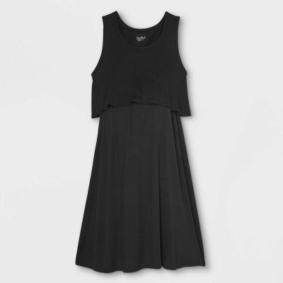 Sleeveless Double Layer Nursing Maternity Dress - Isabel Maternity by Ingrid & Isabel™ Black L