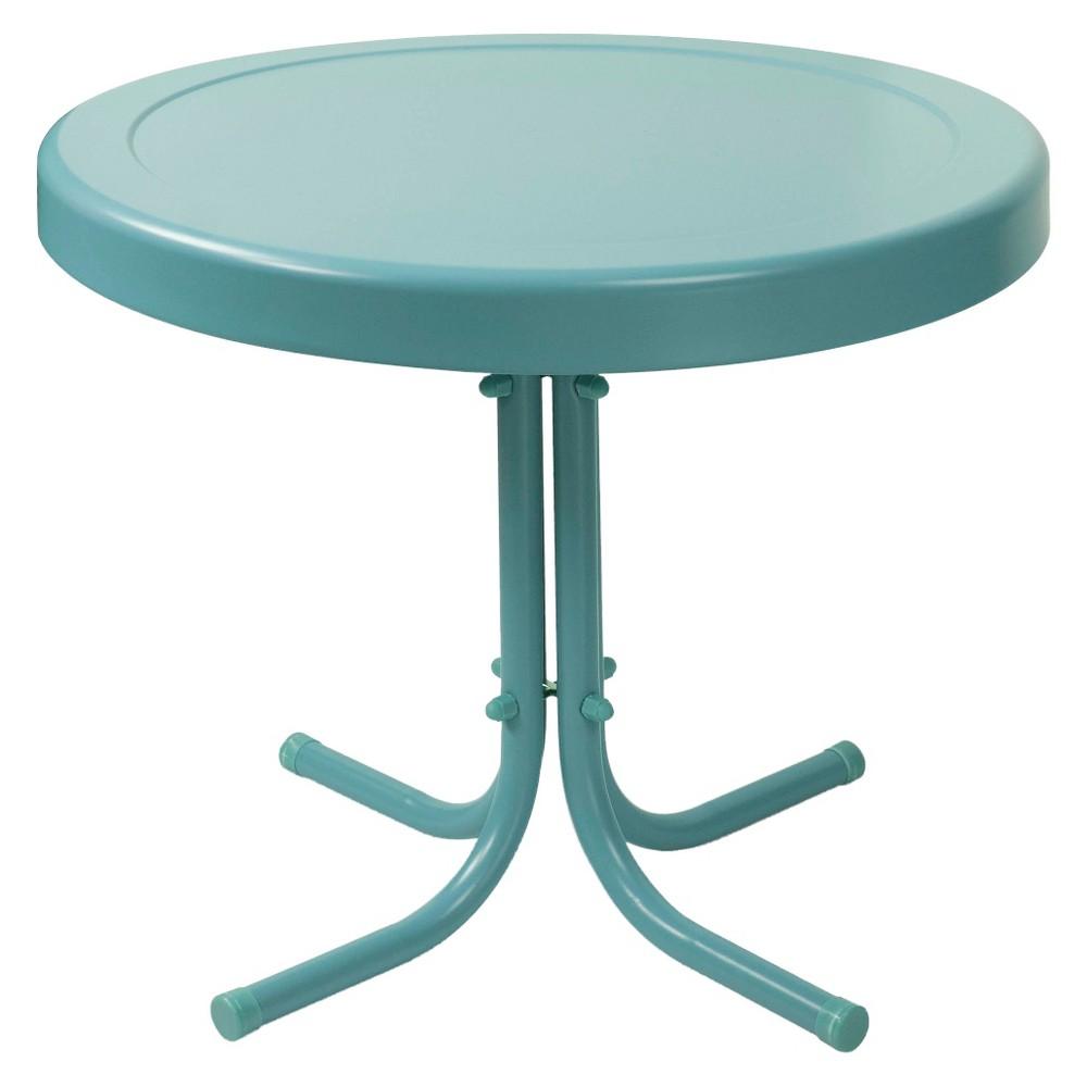 Crosley Retro Metal Patio Side Table In Caribbean Blue