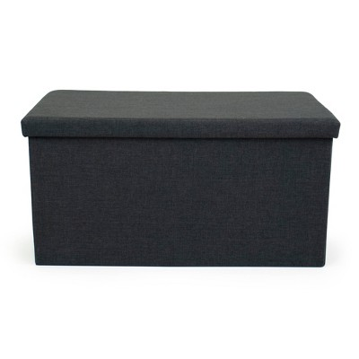 Heathered Storage Ottoman with Reversible Tray Cover Charcoal Gray - Humble Crew