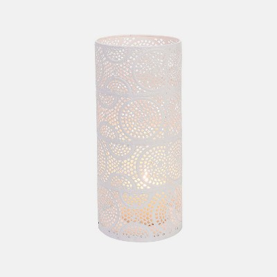 Large Scrollwork Pillar Candle Holder White - Foreside Home & Garden