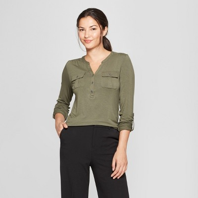 Women's Long Sleeve Utility Top - A New Day™ Olive M