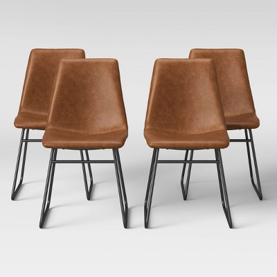 4pk Bowden Faux Leather and Metal Dining Chair Caramel - Project 62™