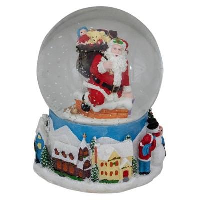 "Northlight 6.5"" Santa Coming Down the Chimney Christmas Snow Globe"