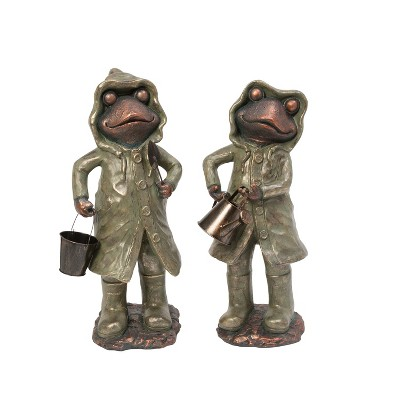 Gerson International 24.6-Inch High Assorted Magnesium Garden Frog Figurines, Set of 2