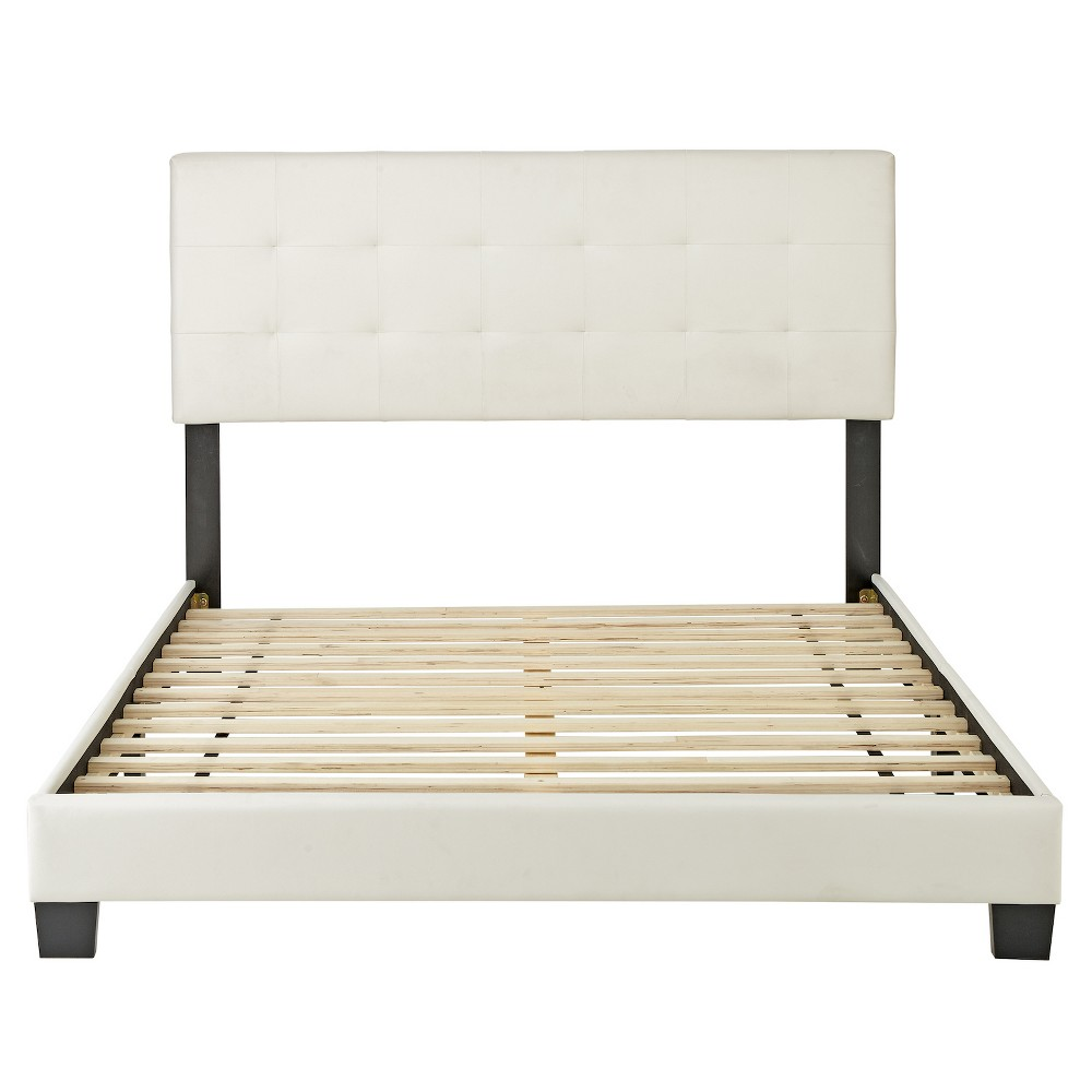 Faux Leather Macie Upholstered Platform Bed Frame Full White - Eco Dream