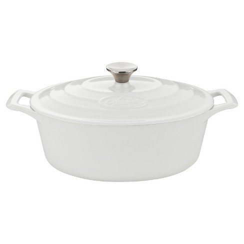 La Cuisine LC 6280 Oval 6.75 Qt. Cast Iron Casserole - White - image 1 of 3
