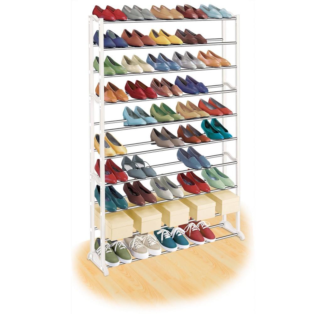 Image of Lynk 50 Pair Shoe Rack - 10 Tier - Shoe Shelf Organizer - White