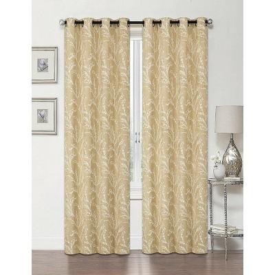 Regal Home 2 Pack: Arbor 100% Blackout Floral Thermal Grommet Curtains