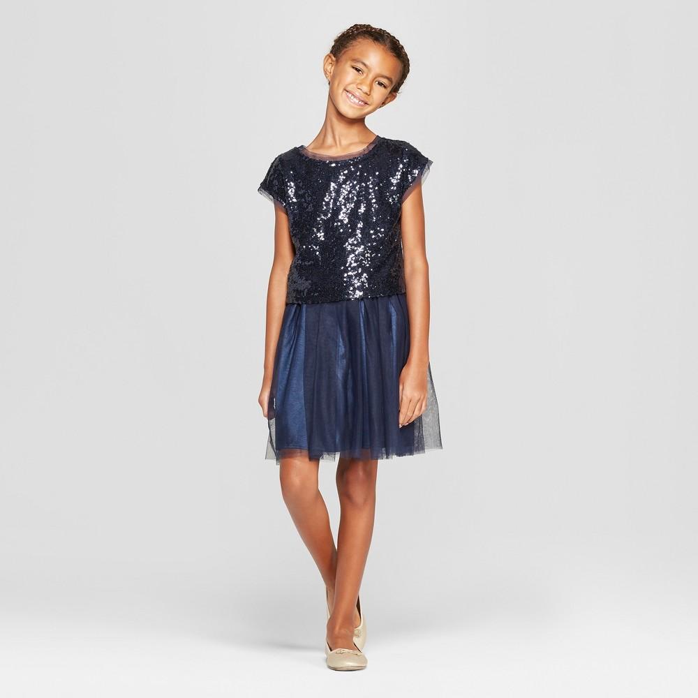 Vintage Style Children's Clothing: Girls, Boys, Baby, Toddler Plus Size Girls Sequin Dress Set with Solid Mesh Skirt - Cat  Jack Navy M Plus Blue $26.99 AT vintagedancer.com
