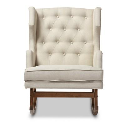 Iona Mid - Century Retro Modern Light Fabric Upholstered Button - Tufted Wingback Rocking Chair - Light Beige - Baxton Studio