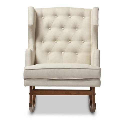 Iona Mid - Century Retro Modern Light Fabric Upholstered Button - Tufted Wingback Rocking Chair - Light Beige - Baxton Studio - image 1 of 4