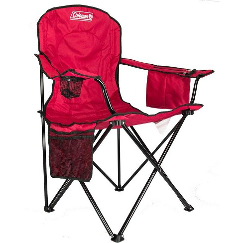 Coleman Folding Quad Chair With Built In Cooler And Cup Holder Red