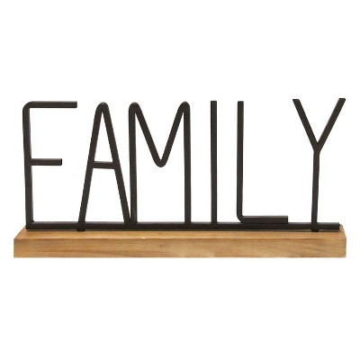 "21.25"" x 9.25""Metal and Wood Family Table Top Black/Natural - Stratton Home Décor"