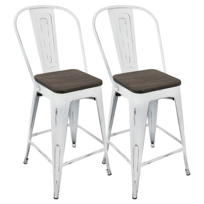 "Set of 2 24"" Oregon Industrial High Back Counter Height Barstools - LumiSource"