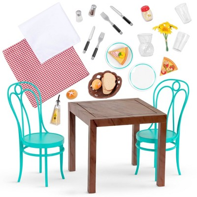 "Our Generation Dining Table & Chairs Furniture Set with Play Food for 18"" Dolls - Pizza With You"