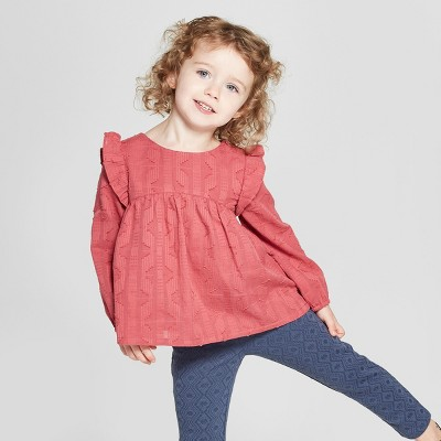 Toddler Girls' Long Sleeve Blouse - Genuine Kids® from OshKosh Rose Essence 18M