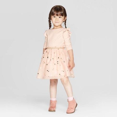 Toddler Girls' Long Sleeve Star Print Tulle Dress - Cat & Jack™ Peach - image 1 of 3