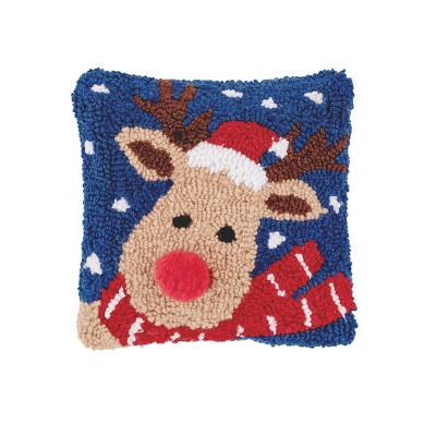 """C&F Home 8"""" x 8"""" Christmas Reindeer Hooked Petite Pillow"""