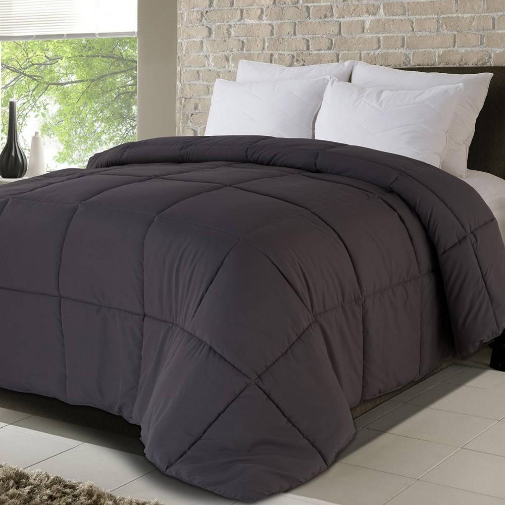 Twin Down Alternative Comforter Dark Gray Never Down