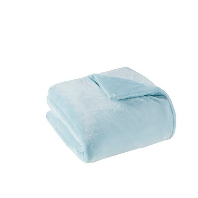 """60"""" x 70"""" 18lbs Plush Weighted Blanket with Removable Cover Blue"""