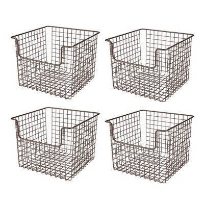 mDesign Metal Kitchen Food Storage Basket, Open Front - 4 Pack