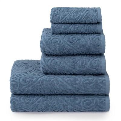 6pc Cameron Sculpted Bath Towel Set Blue - Martha Stewart