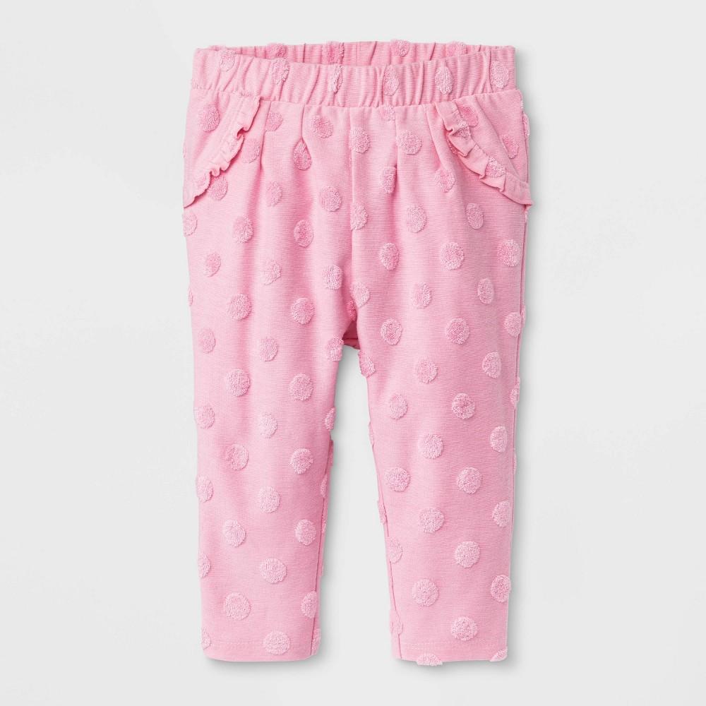 Image of Baby Girls' Dot Print Jogger Pants - Cat & Jack Pink Newborn, Girl's