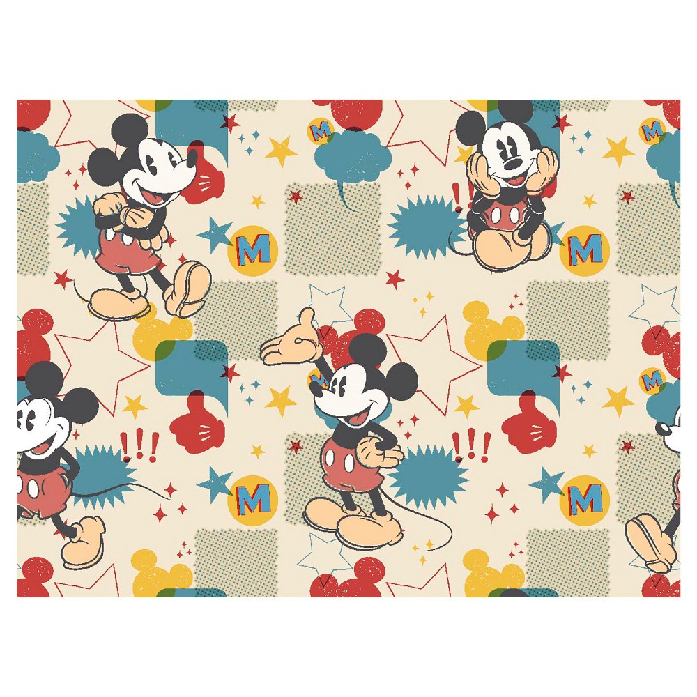 Mickey Mouse Comic Burst Flannel Fabric, Beige