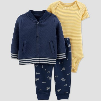 Baby Boys' Quilted Cardigan Top & Bottom Set - Just One You® made by carter's Navy 3M