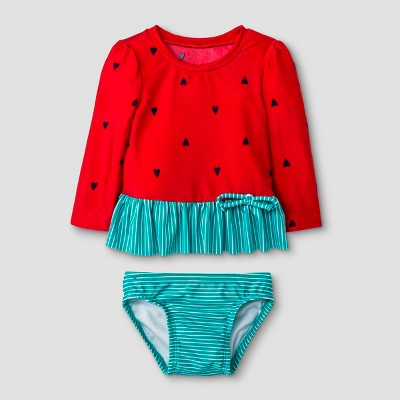 Baby Girls' Long Sleeve Watermelon Rash Guard Set - Cat & Jack™ Red 6-9M