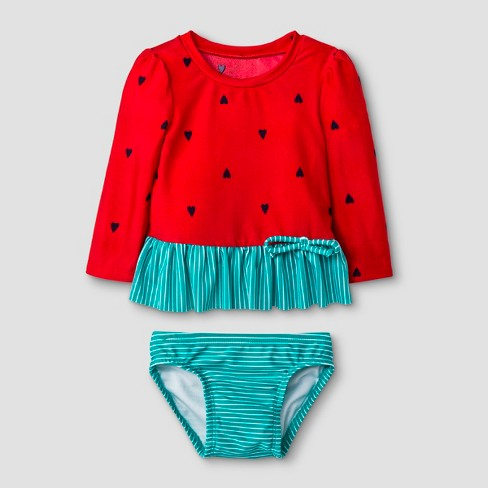 aa2bbb9b01 Baby Girls' Long Sleeve Watermelon Rash Guard Set - Cat & Jack™ Red ...