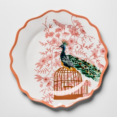 Melamine Dinner Plate 10.5  Pink/Orange Peacock - Opalhouse™