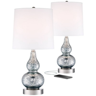 360 Lighting Modern Accent Table Lamps Set of 2 with USB Charging Port Blue Mercury Glass White Drum Shade for Living Room Family
