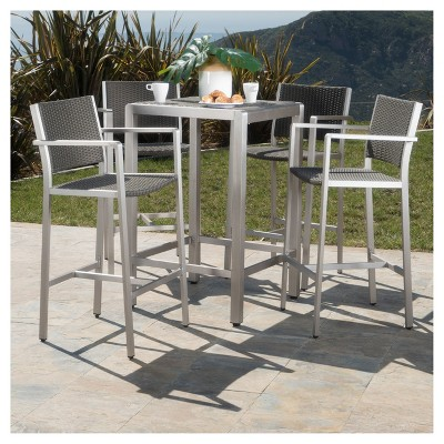 Cape Coral 5pc All-Weather Wicker/Metal Patio Bar Set - Gray - Christopher Knight Home