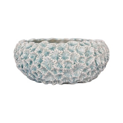 Ceramic Planter with Flower Texture Light Blue - 3R Studios