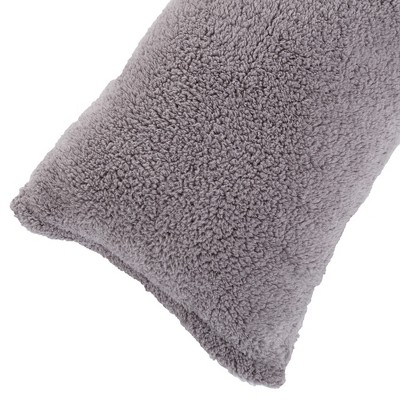 Body Pillow Cover, Soft Sherpa Pillowcase With Zipper, Fits Pillows Up To 51 Inches by Hastings Home(Grey)