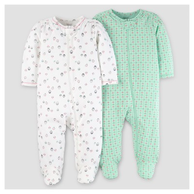 Baby Girls' 2pk Sleep N' Play - Just One You™ Made by Carter's® Mint/Off-White 6M