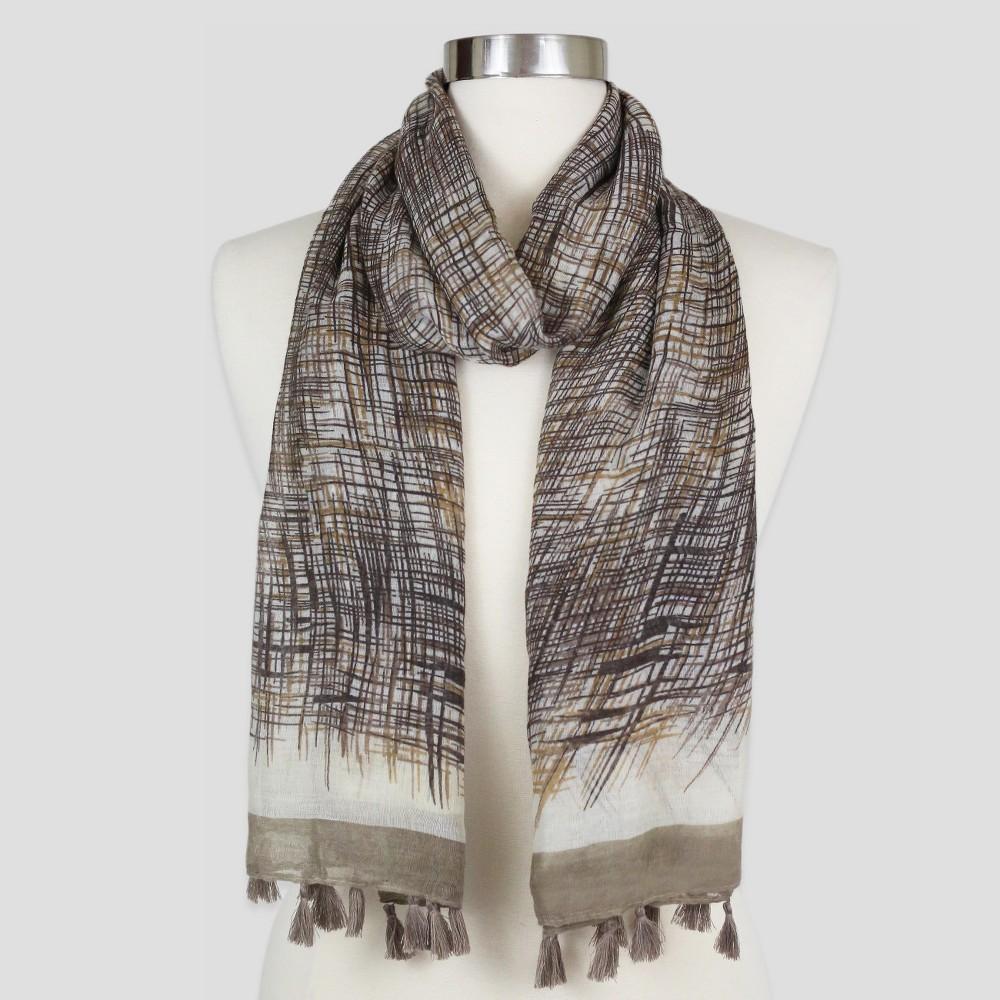 Women's Sylvia Alexander Scarf - Taupe (Brown) Stripe