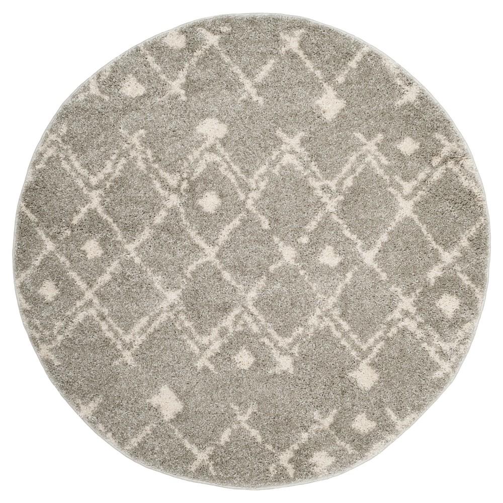 Light Cream Geometric Loomed Round Area Rug 5'1 - Safavieh