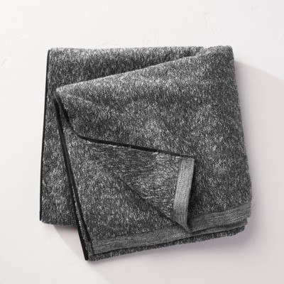 Slub Accent Organic Bath Towel Black - Casaluna™