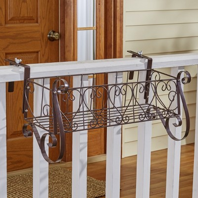 Lakeside Decorative Iron Scrollwork Porch Rail Planter for Flowers, Herbs