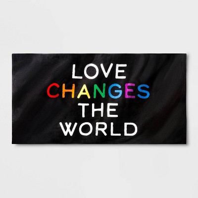 Pride Love Changes The World Beach Towel - Black One Size