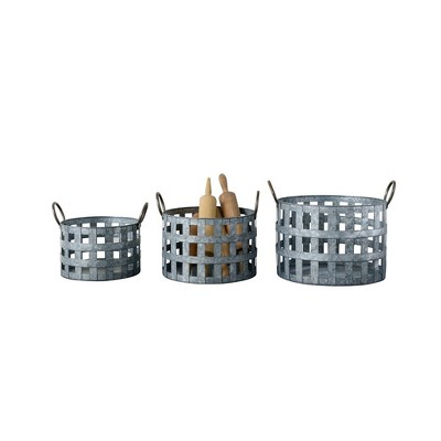 3pc Decorative Galvanized Metal Basket Set Silver - 3R Studios