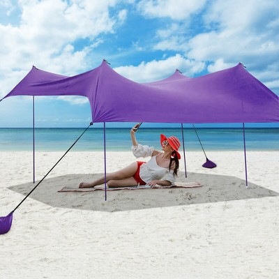 Costway Family Beach Tent Canopy w/4 Poles Sandbag Anchors 10'x9' UPF50+ Purple