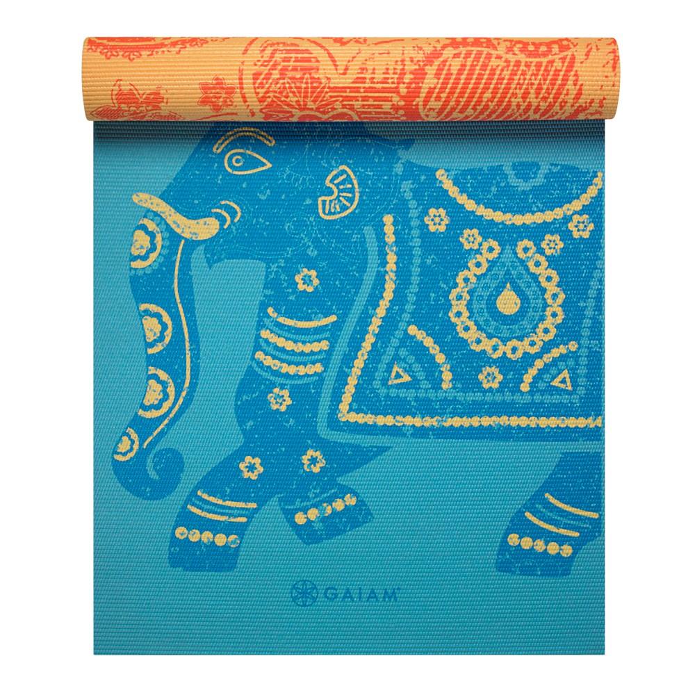 Gaiam Premium Reversible Yoga Mat - Orange/Blue (6mm)