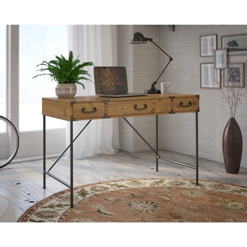 30 Kathy Ireland Office Ironworks Writing Desk In Vintage Golden Pine Bush Furniture Target