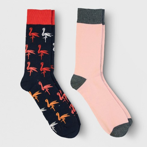 Men's Dress Socks 2pk - Goodfellow & Co™ Navy Flamingo 7-12 - image 1 of 2